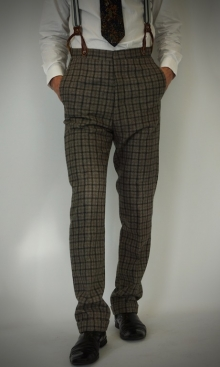 Dapple Grey and Black Dandy Check 1930's Trousers