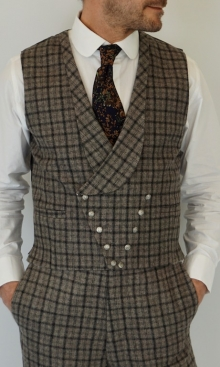 Dapple Grey and Black Dandy Check D. Breasted Waistcoat