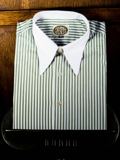 Green and White Stripe Spearpoint Shirt