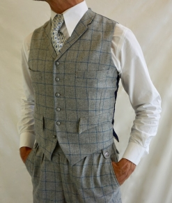 Light Grey and Blue Fine Check Four Pocket Waistcoat