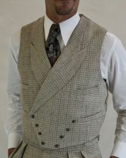 Light Grey French Check Sharp Lapel Double Breasted Waistcoat