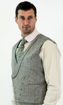 Light Grey Italian Pinstripe Double Breasted Waistcoat