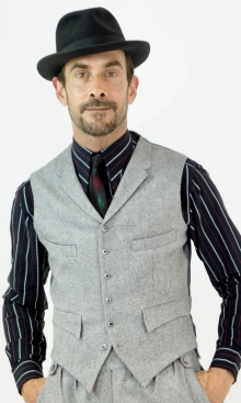 Classic Pale Grey Wool Herringbone Four Pocket Waistcoat