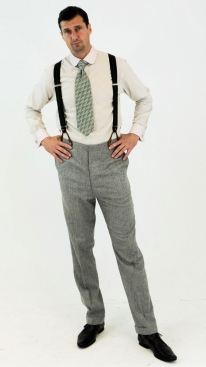 Light Grey Italian Pinstripe 1930's Trousers