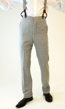 Light Silver Grey Check 1930's Trousers