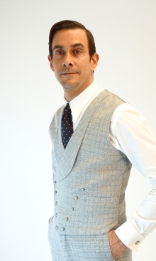Light Silver Grey Check Double Breasted Waistcoat