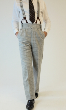 Light Silver Grey Check Oxford Bags