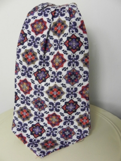 Liberty's White Red Purple Motif Cravat