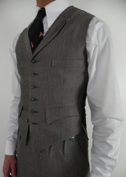 A Lightweight Grey and Black Herringbone Four Pocket Waistcoat