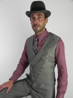A Lightweight Grey and Black Herringbone V-Front Waistcoat