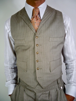 A Lightweight Bronze And Cream Herringbone 4 Pocket Waistcoat