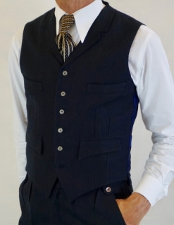 Navy Blue and Black Fine Check Four Pocket Waistcoat