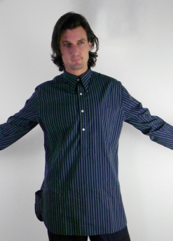 Navy Blue and Green Stripe Spearpoint Shirt