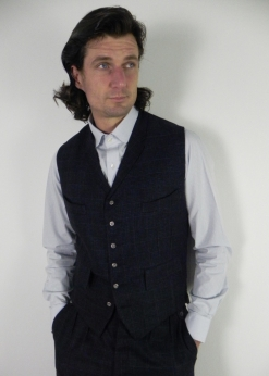 Navy Blue and Red Check Tweed Four Pocket Waistcoat