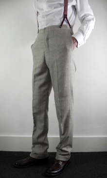 Soft Oatmeal Herringbone 1930's Trousers