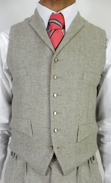 Soft Oatmeal Herringbone Four Pocket Waistcoat