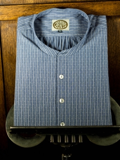 Old Blue Stripe Collarless Shirt