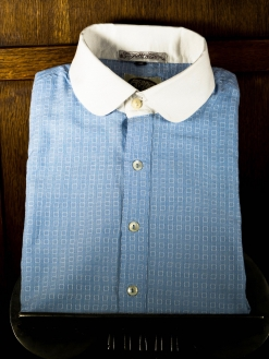 Pale Blue with White Square Motif Neo Edwardian Shirt