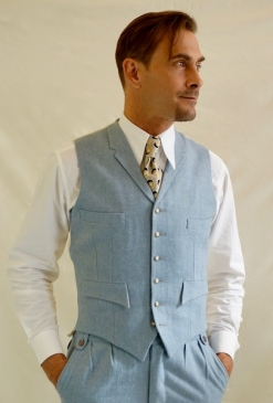 Pale Blue Flannel Fine Wool 4 Pocket Waistcoat