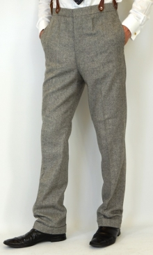 Pale Grey Wool Herringbone 1930's Trousers
