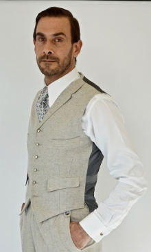 Pale Grey Flannel Fine Wool 4 Pocket Waistcoat