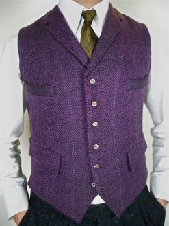 Purple Goatswool Jacquard Weave Four Pocket Waistcoat