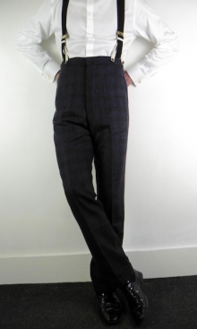 Deep Purple and Charcoal Check 1930's Trousers