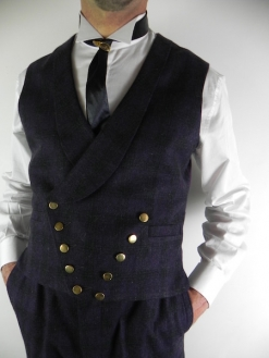 Deep Purple and Charcoal Check Double Breasted Waistcoat