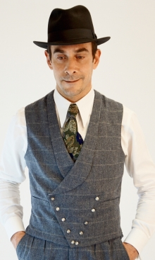 RAF Grey Blue Check Double Breasted Waistcoat