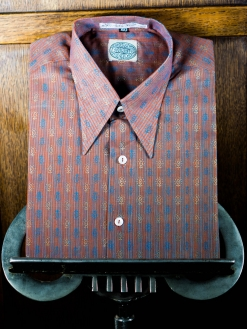 Red and Lilac Striped Motif Spearpoint Shirt