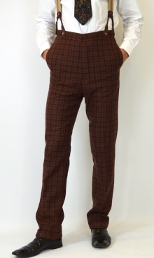 Saddle Brown Dandy Check 1930's Trousers