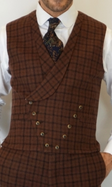 Saddle Brown Dandy Check Double Breasted Waistcoat