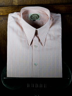 Salmon Pink Striped Spearpoint Shirt