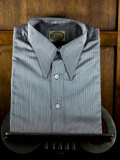 Silver Grey and Black Stripe Spearpoint Shirt