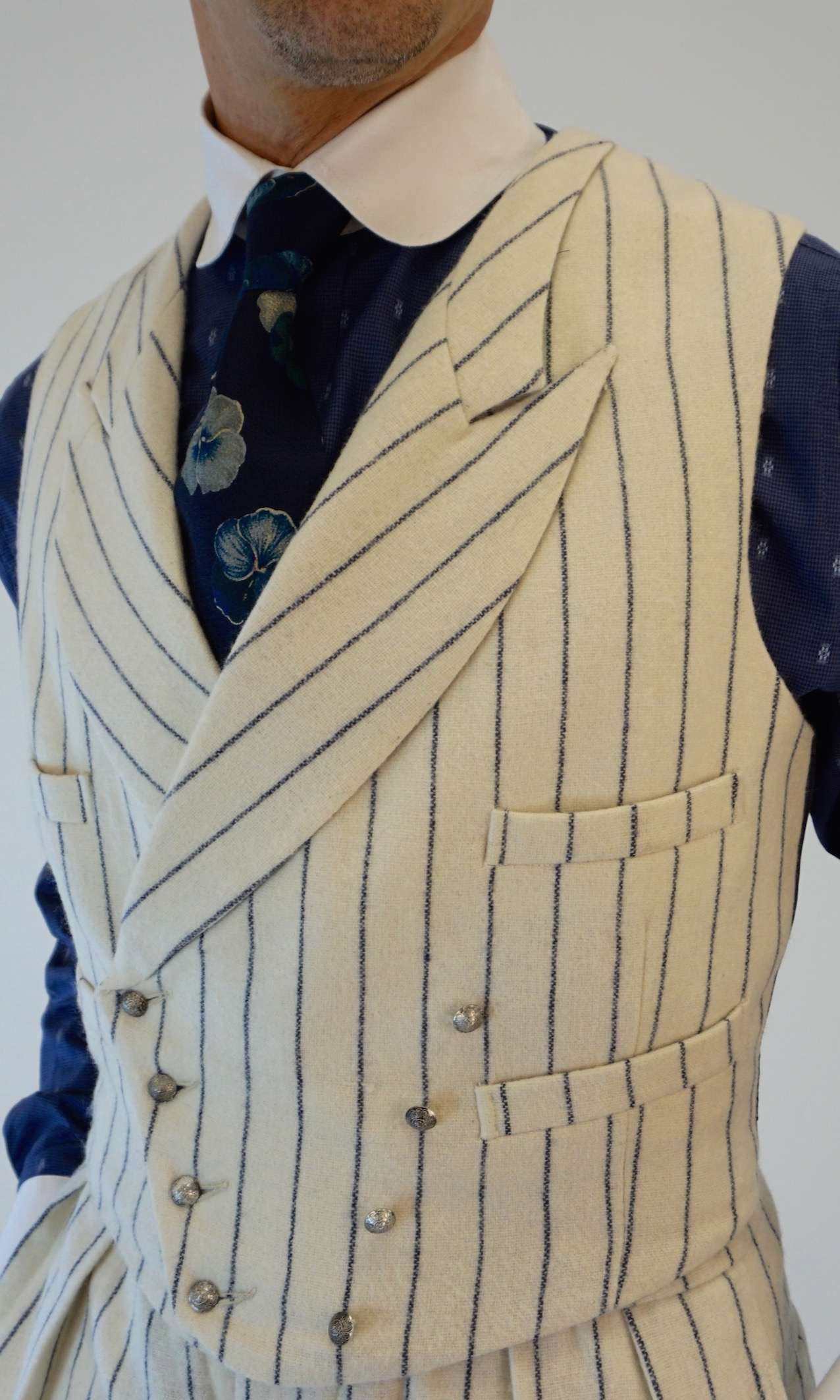 Sharp Lapel D Breasted Waistcoat